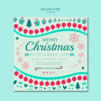 Рождественский шаблон квадратный флаер