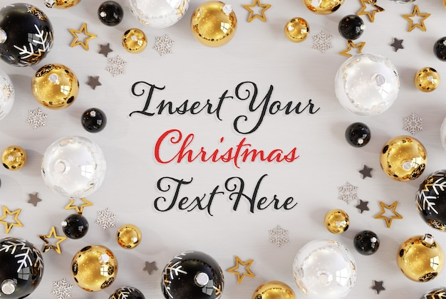 Christmas text on white surface with christmas ornaments mockup