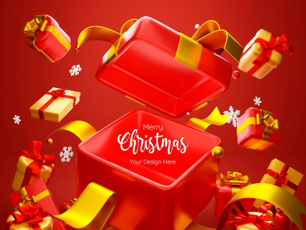 크리스마스 테마는 제품 광고 3d 그림을 위한 선물 상자를 열었습니다.