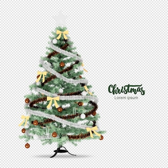 Christmas tree in 3d rendered isolated