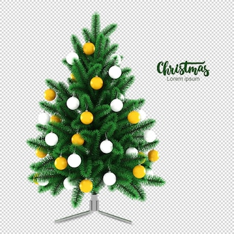 Christmas tree in 3d rendering isolated