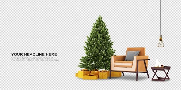 크리스마스 트리와 안락의 자 3d 렌더링