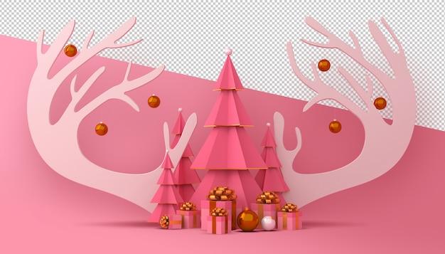 クリスマスツリーとギフトボックスの3dレンダリング