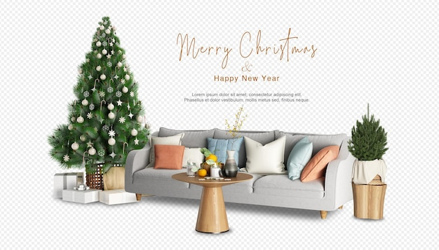 3dレンダリングのクリスマスツリーとモダンなアームチェア