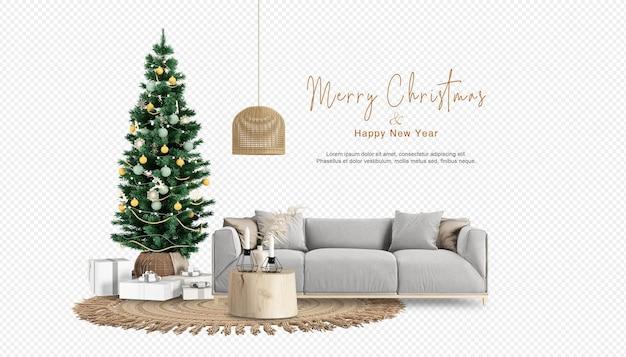 3dレンダリングのクリスマスツリーとソファ