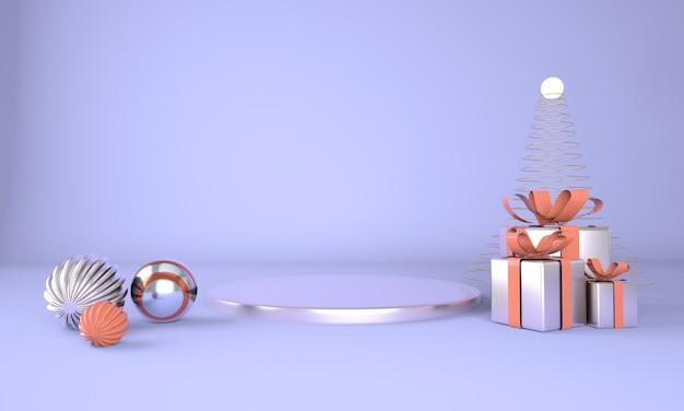 크리스마스 트리와 무대 3d 렌더링