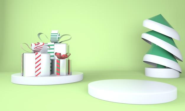 제품 디스플레이 3d 렌더링을위한 크리스마스 트리 및 무대