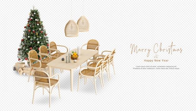 3dレンダリングのクリスマスツリーとテーブルと椅子