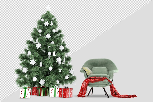 Christmas tree and armchair in 3d rendered