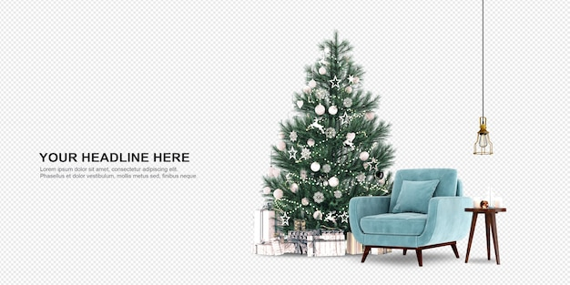 Christmas tree and armchair in 3d rendering