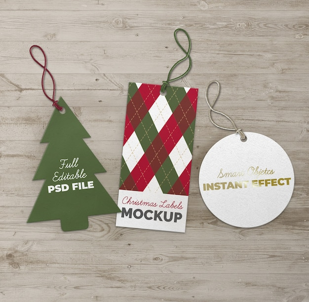 Christmas tree circle and rectangle labels mockup