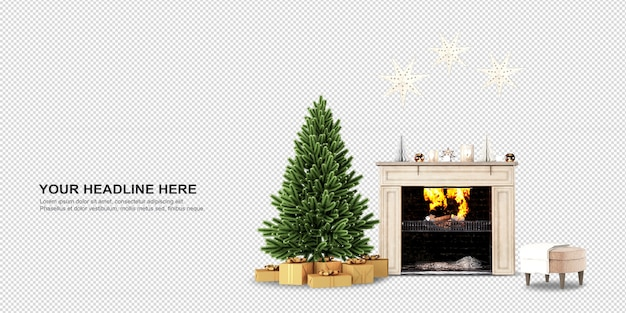 Christmas tree and fireplace in 3d rendering