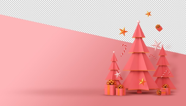 Christmas tree and gift box 3d rendering