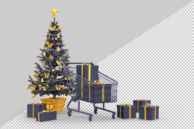 Christmas tree, gift boxes and shopping cart