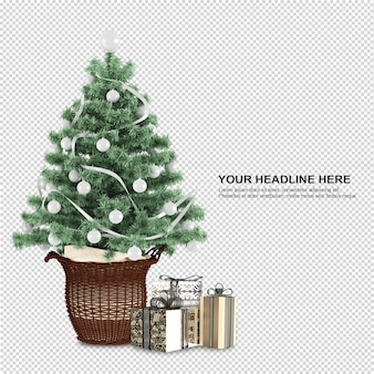 Christmas tree and gifts in 3d rendering