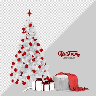 3dレンダリングされたクリスマスツリー、ギフト、アームチェア