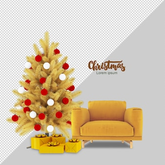 Christmas tree, gifts and armchair in 3d rendered isolated