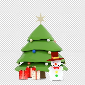 Christmas tree, gifts and snowman in 3d rendered isolated