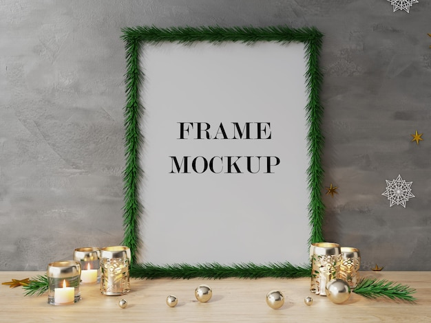 Christmas tree picture frame beside candles 3d rendering mockup
