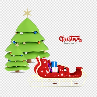 Christmas tree and the rickshaw in 3d rendering isolated