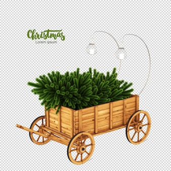 Christmas tree in the rickshaw in 3d rendering isolated