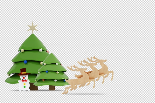 Christmas tree, snowman and reindeers in 3d rendered isolated