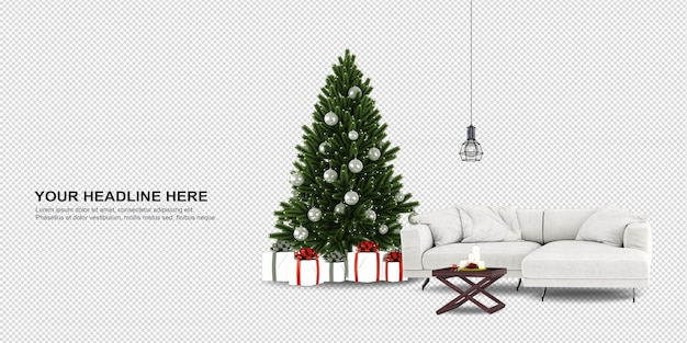 Christmas tree and sofa in 3d rendering
