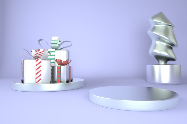 Christmas tree and stage 3d rendering