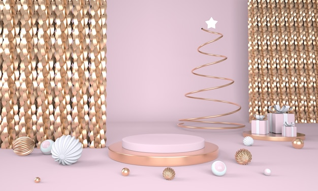 Christmas tree and stage for product display in 3d rendering