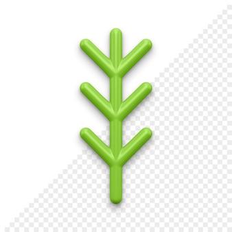 Рождественская елка веточка 3d значок