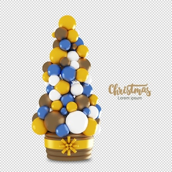 Christmas tree with colorful balls in 3d rendering isolated