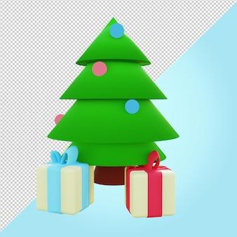 Рождественская елка с подарочной коробке 3d рендеринга