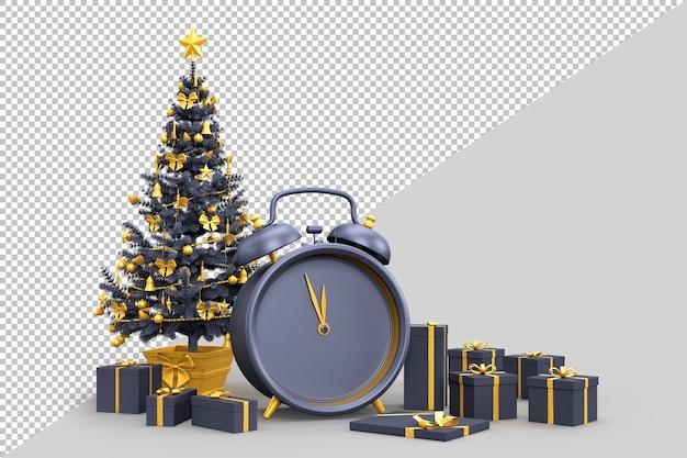 선물 상자와 알람 시계가있는 크리스마스 트리는 자정을 보여줍니다.