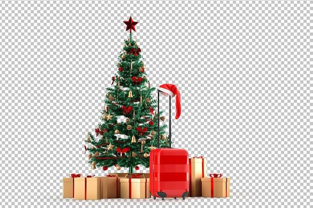 ギフトボックスとスーツケースのクリスマスツリー。旅行のコンセプト。白で隔離。 3dレンダリング