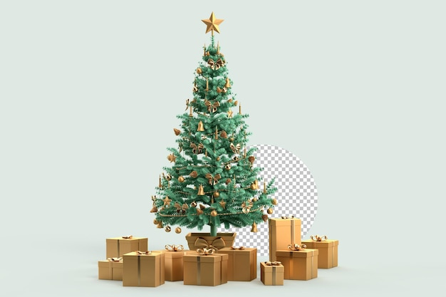 Christmas tree with gift boxes on teal background. 3d rendering