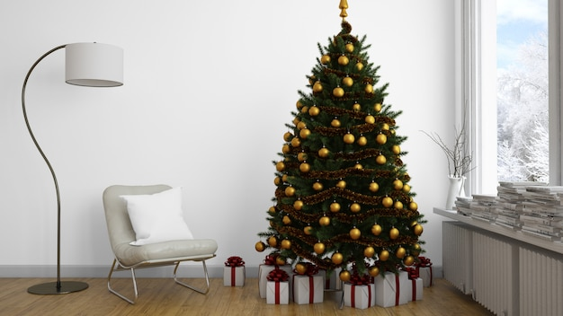 Christmas tree with golden baubles tree indoors