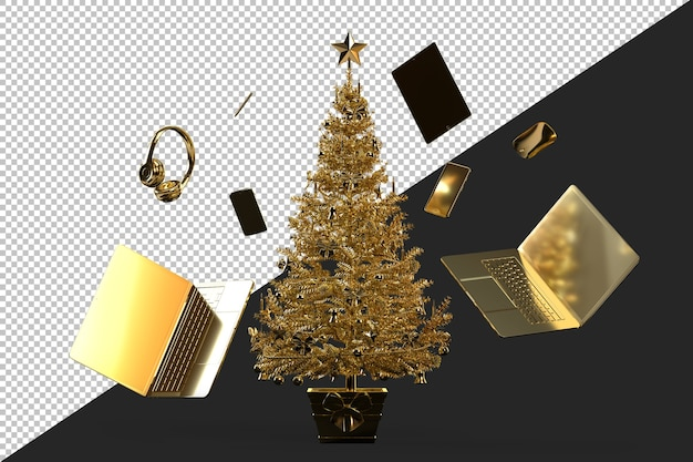 Christmas tree with various modern gadgets and accessories Premium Psd