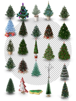 Christmas trees with different shapes