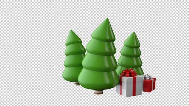 Christmas trees with gifts in 3d illustration isolated