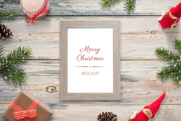 Christmas vertical picture frame mockup
