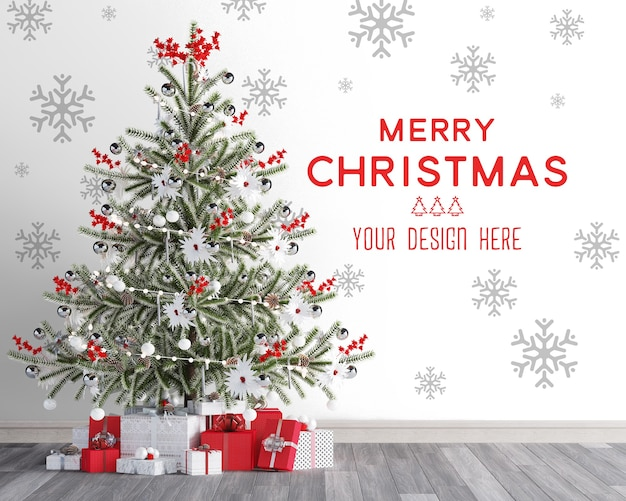 Christmas wallpaper mockup with christmas tree and red gift boxes