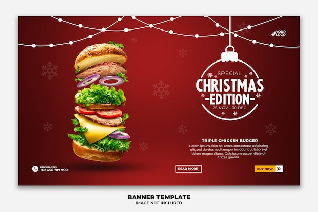 Christmas web banner or landing page template for food restaurant