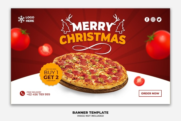 Christmas web banner or landing page template