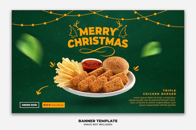 Christmas web banner for restaurant fastfood menu
