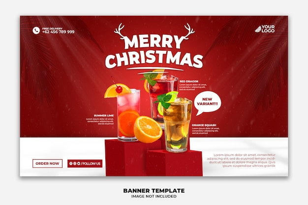 Christmas web banner for restaurant food menu special drink template