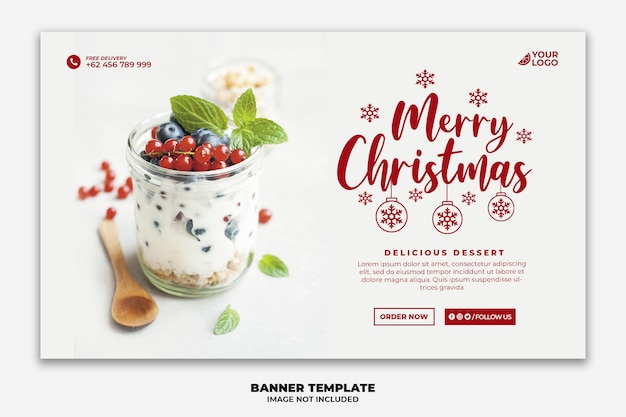 Christmas web banner for restaurant food menu template