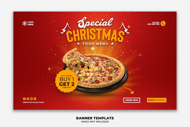 Christmas web banner template for restaurant fastfood menu pizza