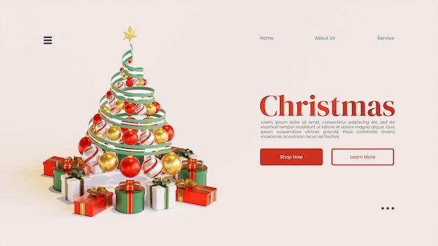 Рождественский шаблон веб-страницы с деревом 3d визуализация иллюстрация