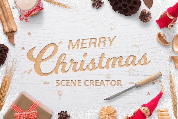 Christmas wooden carving logo greeting text mockup scene creator