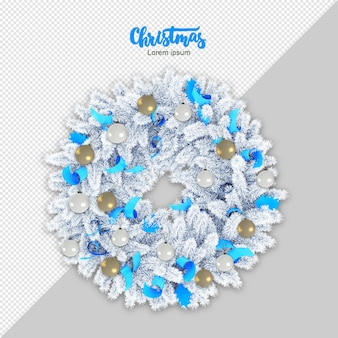 Christmas wreath 3d rendering isolated